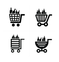 shopping cart icons and drink vector image
