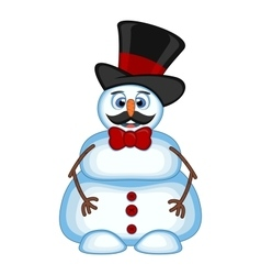 Snowman with mustache wearing a hat and bow ties f vector