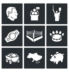 Ukraine kiev industry sport icons set vector
