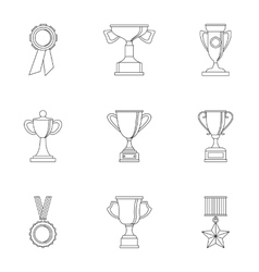 Victory icons set outline style vector