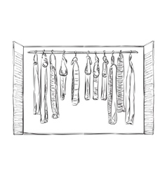 Wardrobe sketch room interior with clothes vector