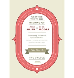 Wedding invitation red badge theme vector