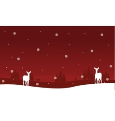 Winter christmas scenery deer of silhouettes vector