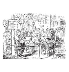 Womens suffrage cartoon - polling place nursery vector