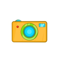 Yellow camera icon in cartoon style vector image