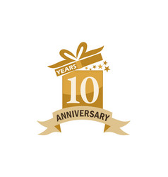 10 years gift box ribbon anniversary vector image vector image