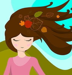 Cute girl with leaves in her hair which are vector