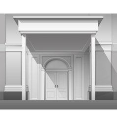 Shop building front with closed door isolated vector