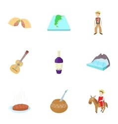 Attractions of argentina icons set cartoon style vector