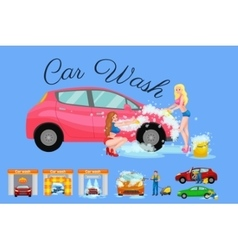 Contactless car washing services bikini model vector