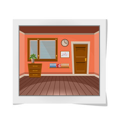 Cartoon photo frame with interior office room in vector