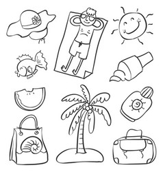 doodle of summer object various vector image