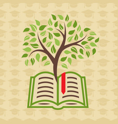 Education concept with book and tree vector