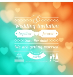Wedding invitation card in retro style vector