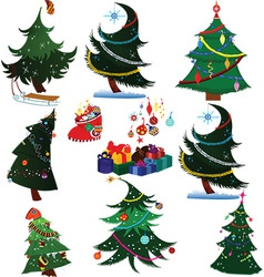Cartoon christmas trees with presents vector