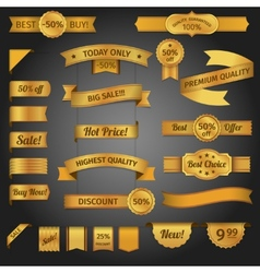 Discount retro ribbon golden set vector