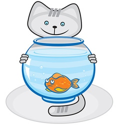 Grey cat and fish in the aquarium vector