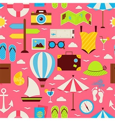 Flat travel resort vacation seamless pattern vector
