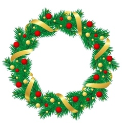 Christmas wreath with baubles and christmas tree vector