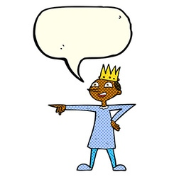 Cartoon pointing prince with speech bubble vector