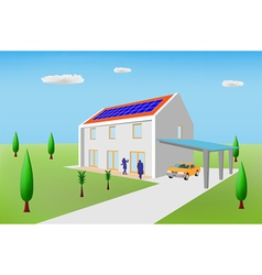 solar panel house vector image