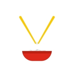 Bowl of rice with pair of chopsticks icon vector