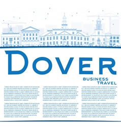 Outline dover skyline with blue buildings vector
