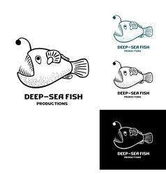 Deep sea fish logo isolated vector