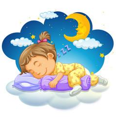 baby girl sleeping at night vector image vector image