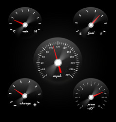 car dashboard gauge on black background speed vector image vector image