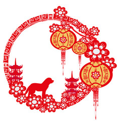 chinese zodiac the year of dog - frame vector image