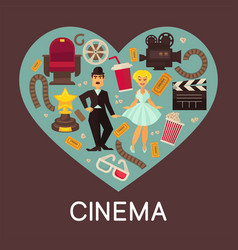 Cinema commercial banner with cinematographic vector