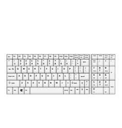 Computer realistic white keyboard ioslated on vector