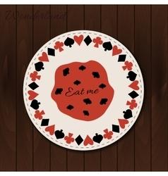 Cookie- drink coaster from wonderland on wooden vector