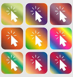 Cursor icon sign nine buttons with bright vector