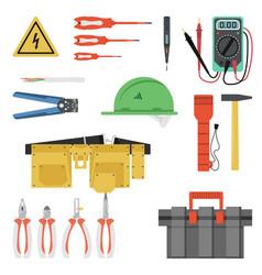 electrician tool flat set vector image