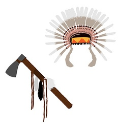 Feather headdress and tomahawn vector image vector image