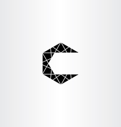 Geometric black c letter icon symbol element vector