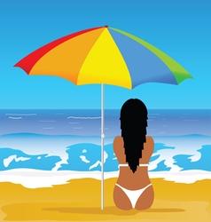 girl with bikini on beach vector image vector image
