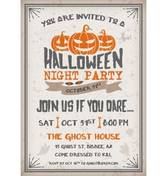 Halloween Night Party Invitation vector image