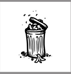hand drawn sketch of open garbage can with waste vector image