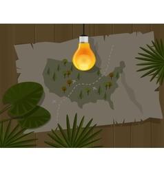 Map jungle bulb night america dark vector