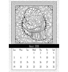 mitten with scenery doodle pattern calendar vector image vector image