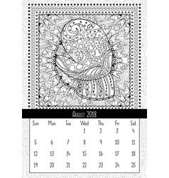 Mitten with scenery doodle pattern calendar vector