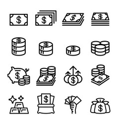 money asset property coin banknote investment vector image