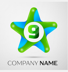number nine logo symbol in the colorful star on vector image vector image