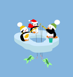 penguins fishing on an ice floe vector image