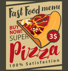 retro menu with slice of pizza vector image vector image