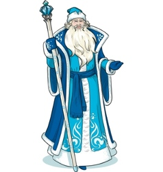 Russian Christmas Character Father Frost in blue vector image vector image