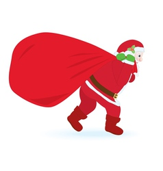 Santa Claus carrying huge sack vector image